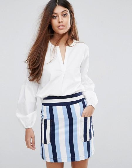 Warehouse - Bluse mit Puffärmeln - Weiß