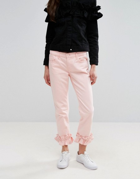 J Brand x Simone Rocha - Gekürzte Boyfriend-Jeans mit Rüschen - Rosa