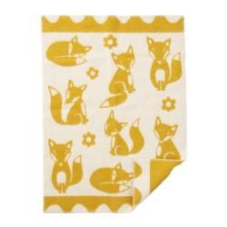 Barnfilt fox gul ekologisk ull, klippan yllefabrik