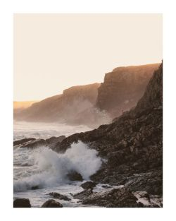 SUNSET STORMY WAVES POSTER