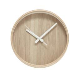 Klocka i ljust trä/ vit ø26 cm, hubsch