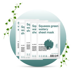 E NATURE Squeeze Green Watery Sheet Mask 5-pack