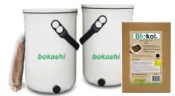Startkit - Bokashi 2.0 + Bonusprodukt: Svenskt Biokol - 2 st designade hinkar för köksbänken + 1 kg Svenskt Bokashiströ
